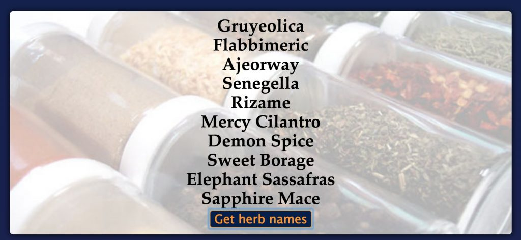 Dda205 random spice recipe daily digital alchemy take a favorite recipe and substitute three ingredients with spices from the random spice generator what is the recipes new name forumfinder Image collections